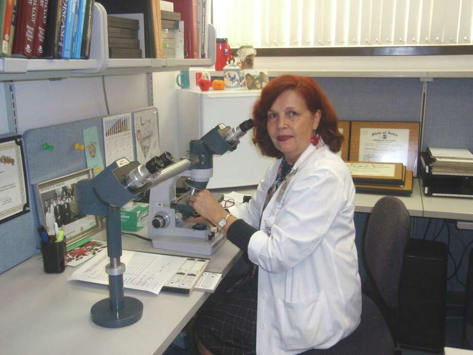 Dr.  Regina Verani  was inspired as an artist by what she sees under the microscope through her work as a renal pathologist. Photo: Courtesy