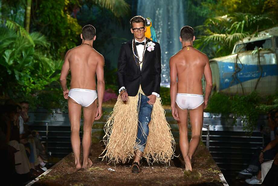 We've run out of ideas?The dinner jacket-hula skirt ensemble breaks new ground, but what is the Dsquared2 Menswear Spring-Summer 2014 Collection in Milan trying to say with the tighty whities? Photo: Gabriel Bouys, AFP/Getty Images