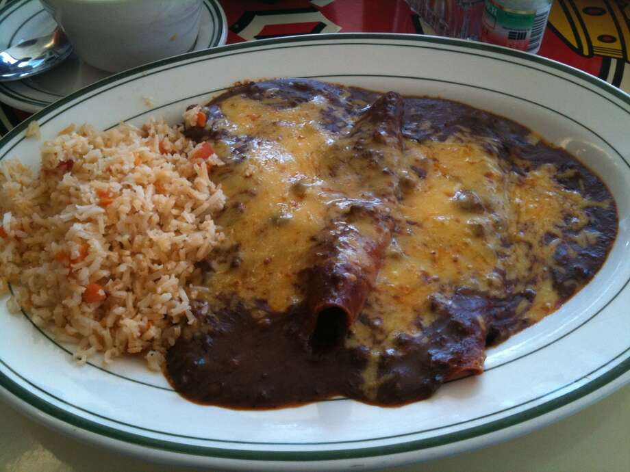 Cheese enchilada plate at El Real Tex-Mex Cafe, Houston
