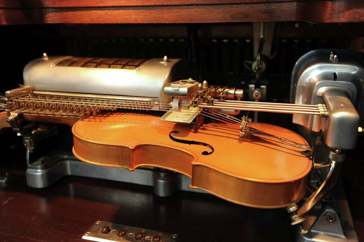 The violano at Villa Finale, the former home of preservationist Walter Nold Mathis, has two violins equipped with metal strings. June 20, 2013.