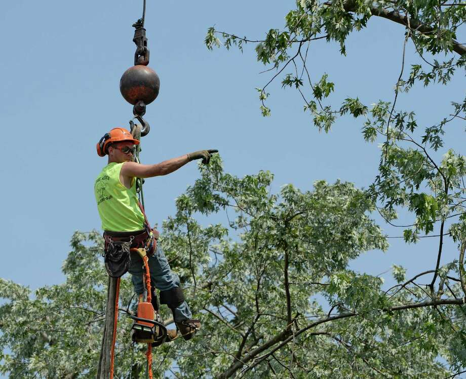 Kyle Trestizk of the KT Tree Service gives direction as he hangs from a crane as a massive tree is removed from the remains of a home at 1710 6th Street June 25, 2013 after a severe storm hit Rensselaer N.Y. last evening. KT Tree Service worked in the extreme heat to remove the remnants of the tree that destroyed the home where an elderly woman was brought to safety from the second floor after the storm.  (Skip Dickstein/Times Union) Photo: SKIP DICKSTEIN