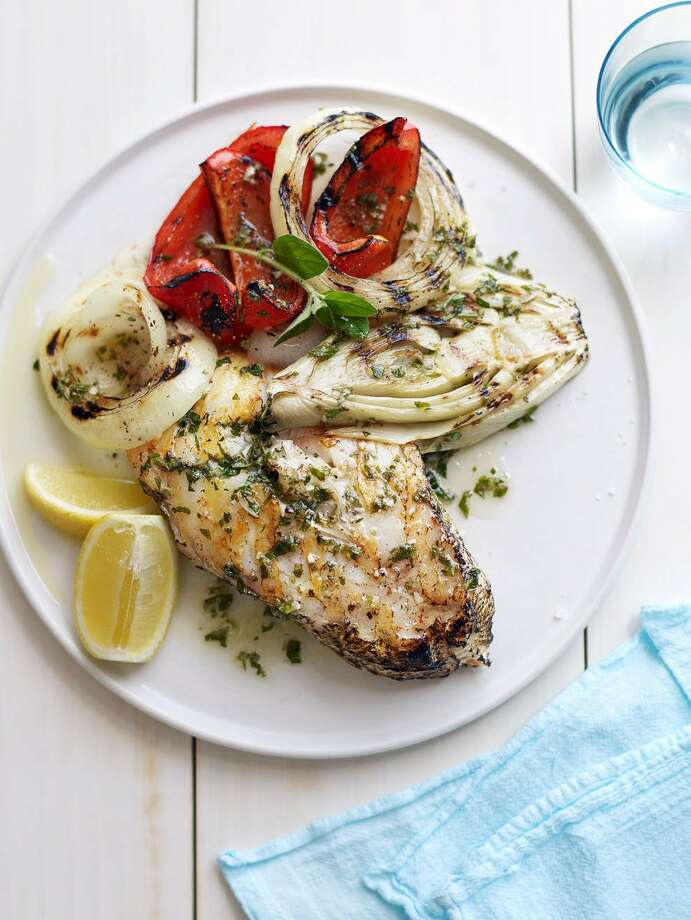 Redbook recipe for Fish Steaks with Grilled Fennel, Red Peppers, and Onions. Photo: Con Poulos