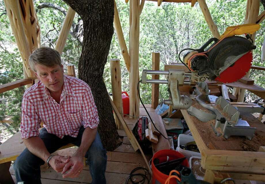 "Pete Nelson from Animal Planet's ""Treehouse Masters, "" visits the Anne Frank Inspire Academy to oversee construction on a treehouse he designed for the school.  The treehouse will be used as outdoor classroom space and can hold 20-25 students. Photo: Helen L. Montoya, San Antonio Express-News / ©2013 San Antonio Express-News"