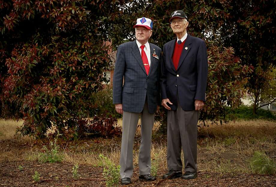 Korean War veterans Donald Reid, (left) and John R. Stevens on Tuesday June 25, 2013, at the site of the proposed memorial near the National Cemetery in San Francisco, Calif.  Plans to build a memorial to veterans of the Korean War are underway at a site just outside the East gates of the National Cemetery in the Presidio of San Francisco. Photo: Michael Macor, The Chronicle