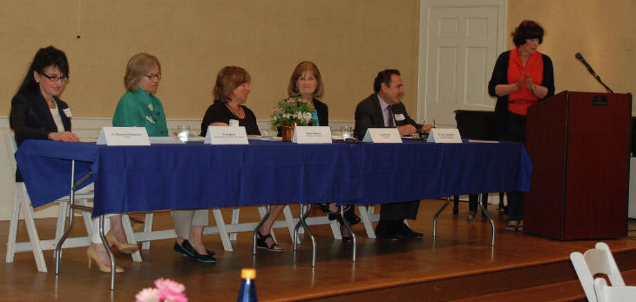 The Darien League of Women Voters held its annual meeting and panel discussion June 12. From left, Rosemarie Reardon, moderator; State Rep. Terrie Wood; Eileen Whalen, Darien High School psychologist; Laura Autore, president of Laurel House; and Larry Rosenberg, director of the Child Guidance Center of Southern Connecticut. Photo: Contributed Photo