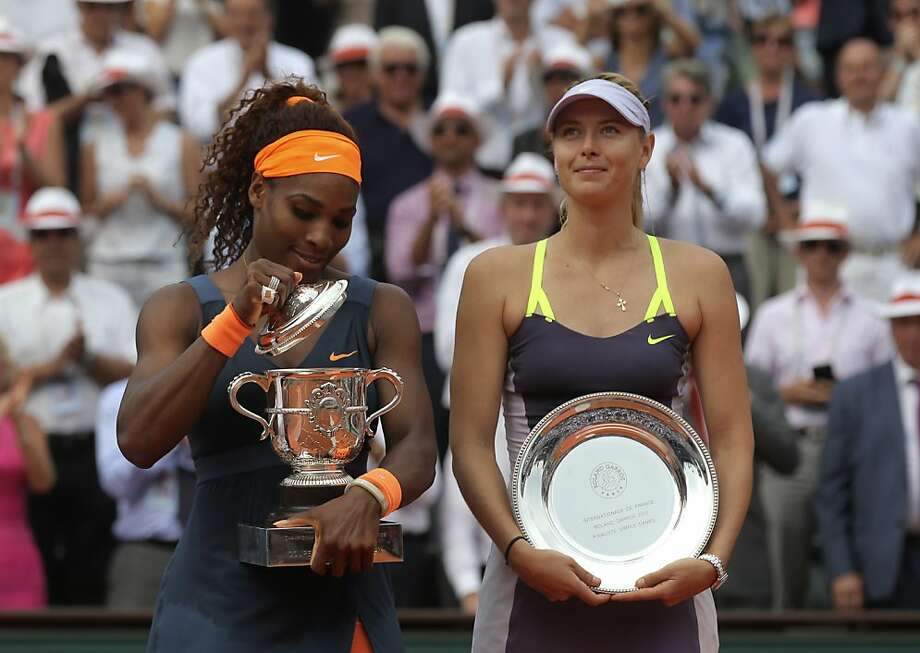 Serena Williams (left) and Russia's Maria Sharapova traded verbal shots off the court. Photo: Michel Euler, Associated Press