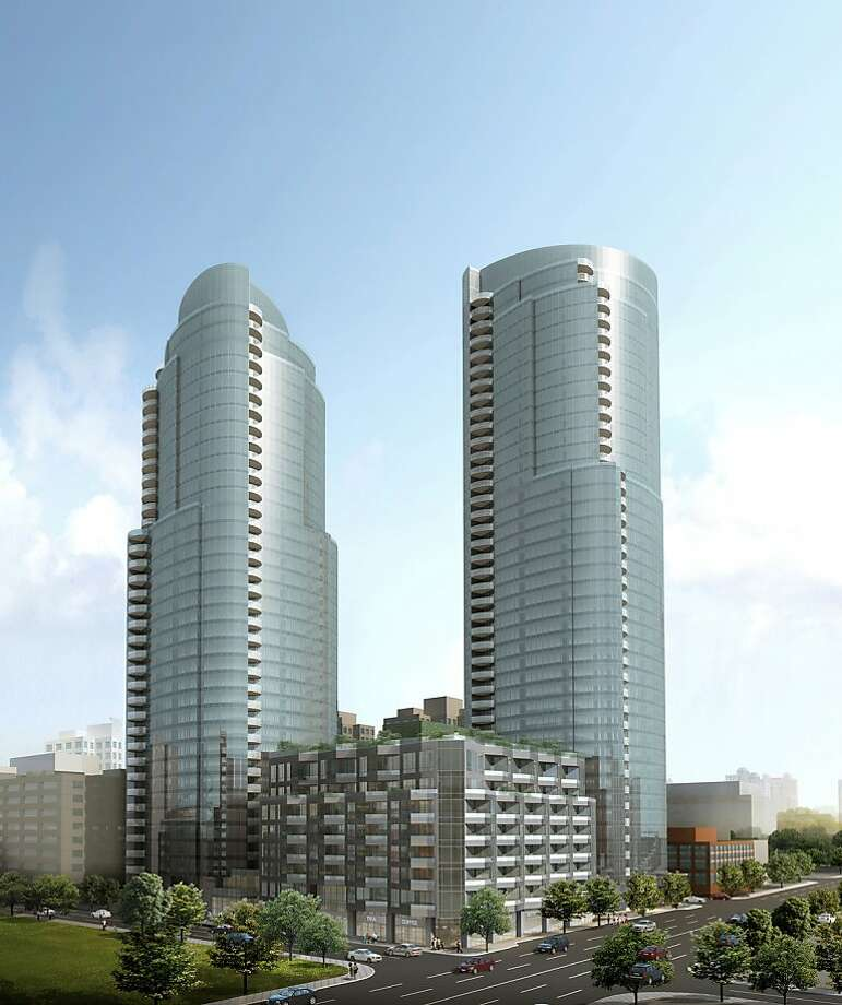 A rendering of the proposed twin-tower, 655-unit complex to be constructed at 201 Folsom St. Photo: Tishman Speyer
