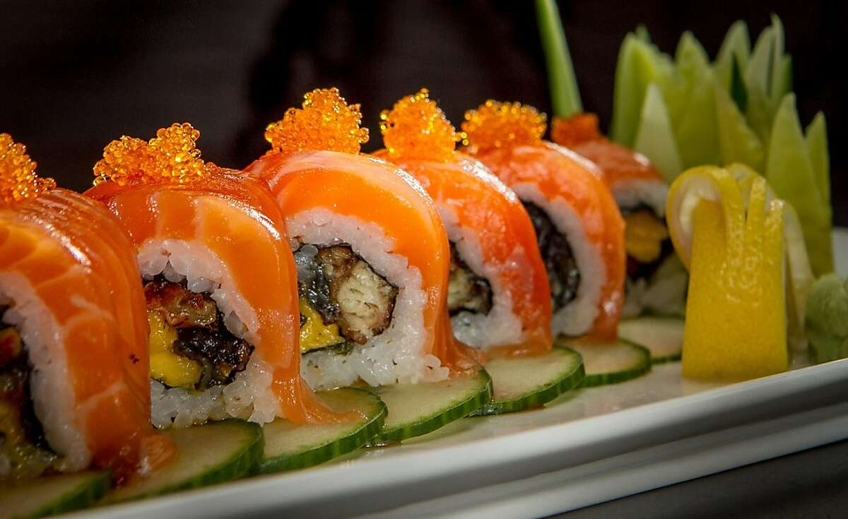 """The """"Golden Gate"""" roll at Sakesan Sushi & Bistro in San Francisco , Calif., is seen on Saturday, June 15th, 2013."""