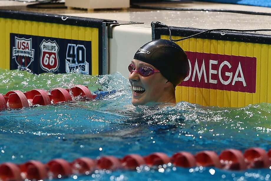 Missy Franklin smiles after winning the women's 100-meter freestyle at the U.S. National Championships. Franklin grabbed four gold medals at the London Olympics last summer. Photo: Streeter Lecka, Getty Images