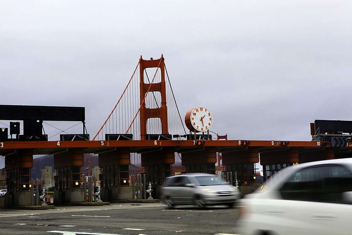 Vehicles pass through the Golden Gate bridge toll booths in San Francisco, Calif., on Tuesday, June 25, 2013.
