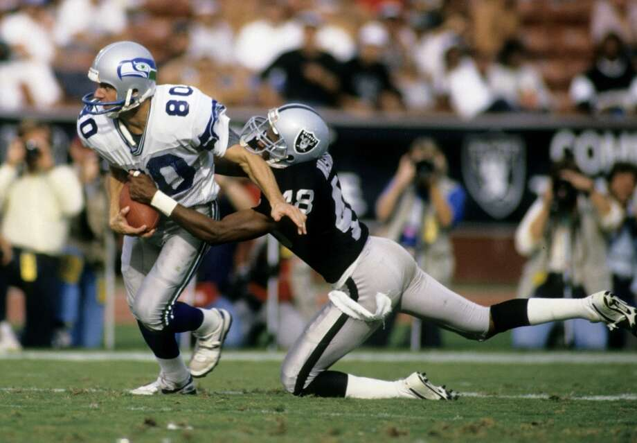 Seattle Seahawks vs. Los Angeles/Oakland Raiders   This rivalry prospered in the 1980s with Bo Jackson and Brian Bosworth, Steve Largent versus Lester Hayes, and five epic Monday-night AFC matchups. These teams certainly boiled each other's blood, and it surely made for great television. Photo: Rob Brown, Getty Images