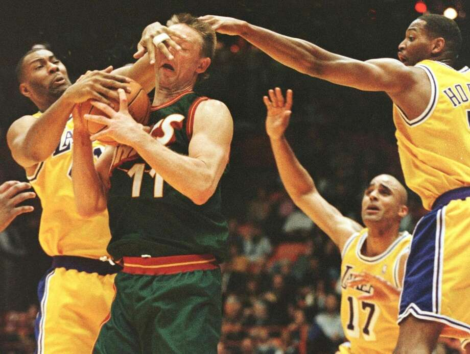 Seattle Sonics vs. Los Angeles LakersThe two teams shared the Pacific Division when the Sonics were still a thing. And while the Lakers dominated much of the time, a fiery stretch in the 1990s, headlined by Seattle's Gary Payton and Shawn Kemp, made for a classic rivalry between the two. Photo: Vince Bucci, AFP / Getty Images