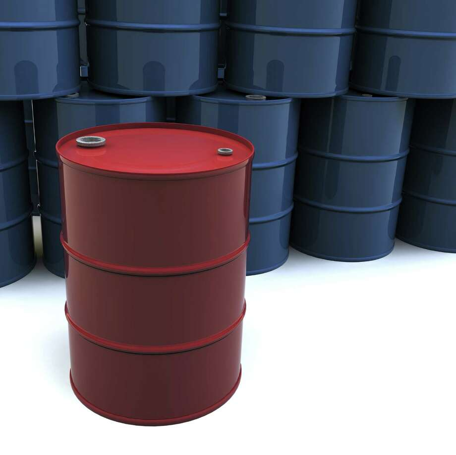 A stack of blue oil barrels with one red barrel. 3D rendering with raytraced textures and HDRI lighting. Attached file by mark evans -- purchased from istockphoto.com   OIL DRUM BARREL Photo: Mark Evans / handout / stock agency
