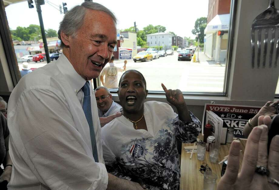 Massachusetts Senate Democratic candidate Ed Markey, left, meets and greets grassroots volunteers and supporters at the Pickle Barrel Restaurant & Deli, in Worcester, Mass., Monday, June 24, 2013. Markey and Republican Gabriel Gomez made appeals to voters Monday in the final hours before Massachusetts' special election for the U.S. Senate, where turnout is expected to be light, a contrast to the high-profile special election in the state three years ago. (AP Photo/Worcester Telegram & Gazette, John Ferrarone) Photo: John Ferrarone, MBO / Worcester Telegram & Gazette