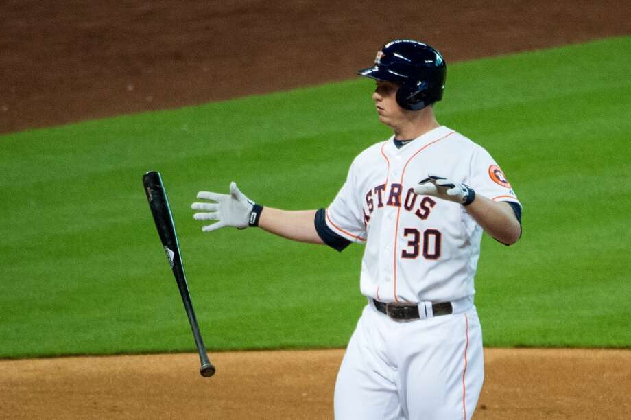 Astros third baseman Matt Dominguez reacts after striking out.
