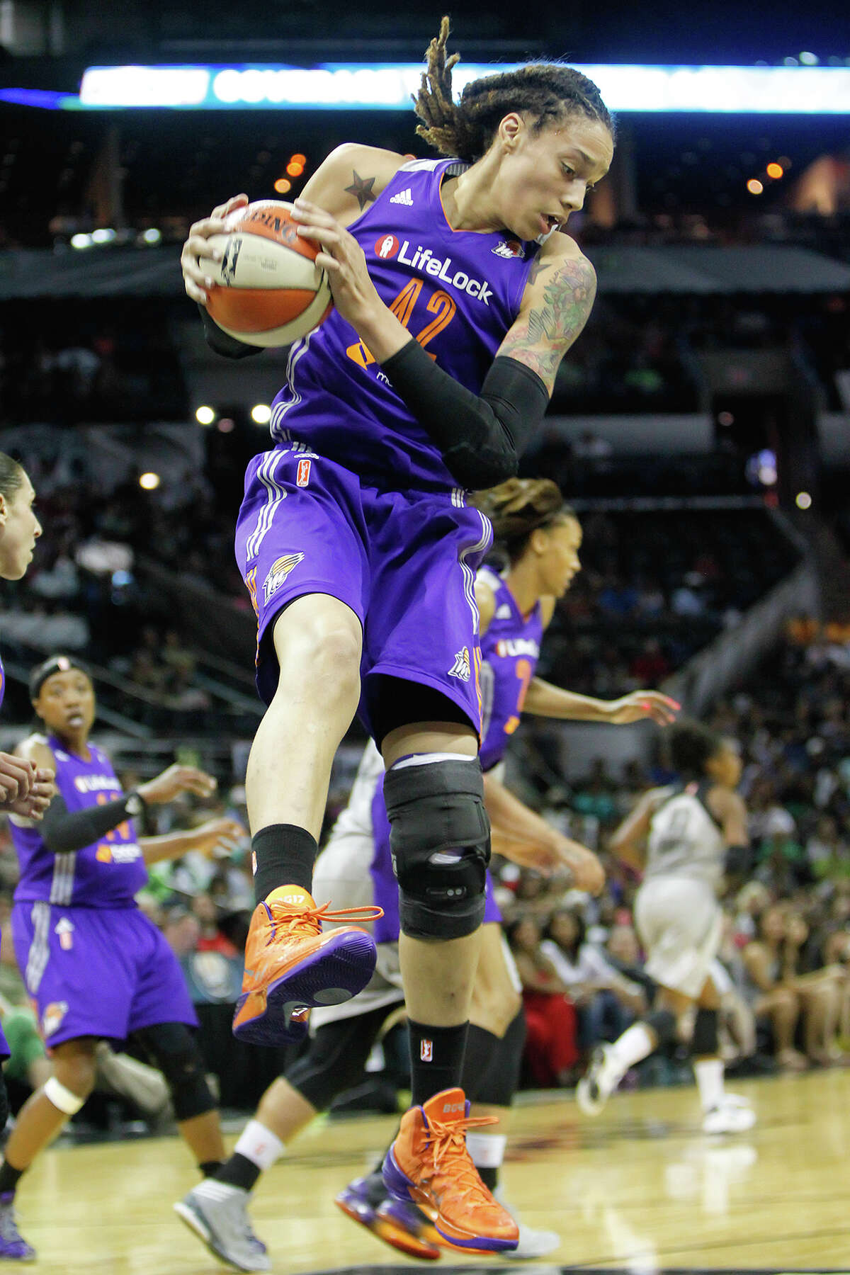 Phoenix's Brittney Griner pulls down a rebound in the first half of the Silver Stars game with the Phoenix Mercury at the AT&T Center on Tuesday, June 25, 2013. The game was former Baylor standout Brittney Griner's first trip to play in her home state. The Mercury won the game 83-77. MARVIN PFEIFFER/ mpfeiffer@express-news.net