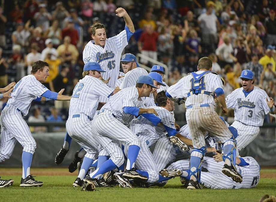 UCLA players celebrate sweeping Mississippi State to win the College World Series. Photo: Ted Kirk, Associated Press