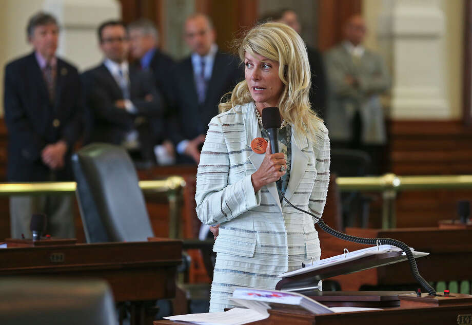 Fort Worth Senator Wendy Davis filibusters in an effort to cause abortion legislation tp die without a vote on the floor of the Senate Tuesday, June 25, 2013. Photo: TOM REEL