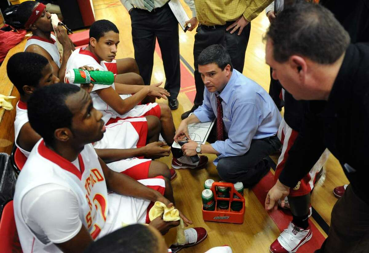 Stratford's head coach, during basketball action against Masuk in Stratford, Conn. on Friday Jan. 15, 2010.