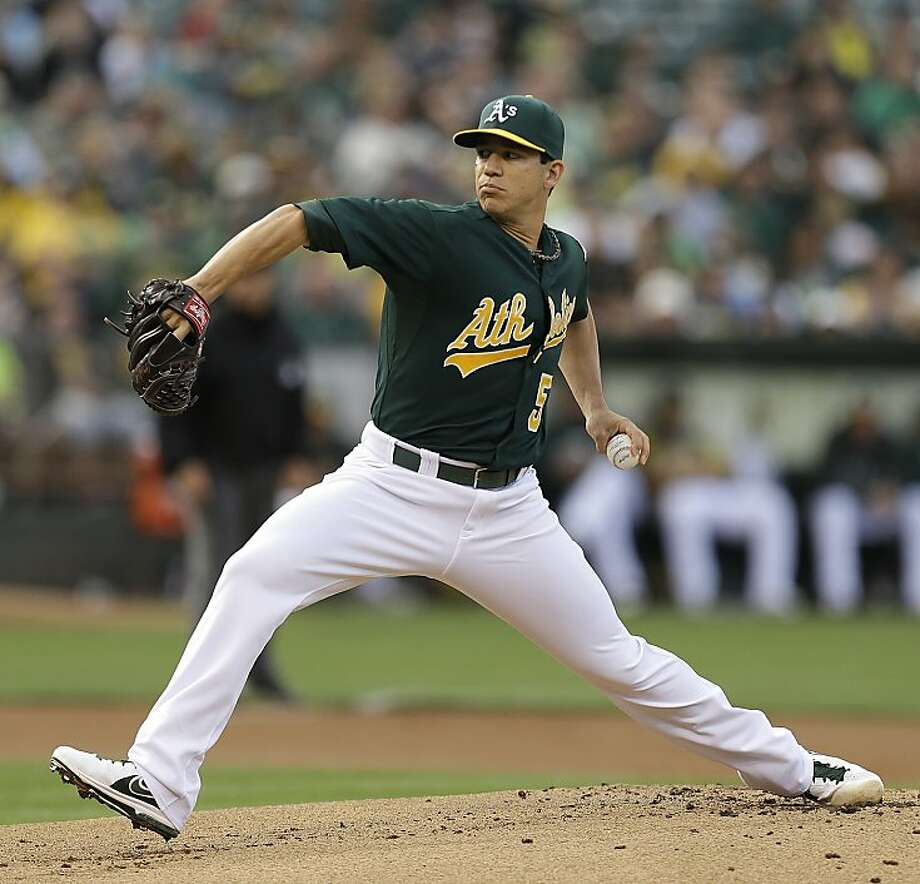 Oakland Athletics' Tommy Milone  works against the Cincinnati Reds in the first inning of a baseball game Tuesday, June 25, 2013, in Oakland, Calif. (AP Photo/Ben Margot) Photo: Ben Margot, Associated Press
