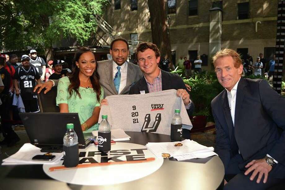 Johnny Manziel was a Spurs-touting guest on 'First Take' on ESPN 2 during broadcasts from downtown's Hard Rock Cafe. The shows provided S.A. lots of fun national exposure during the Finals. Photo: Courtesy Of ESPN