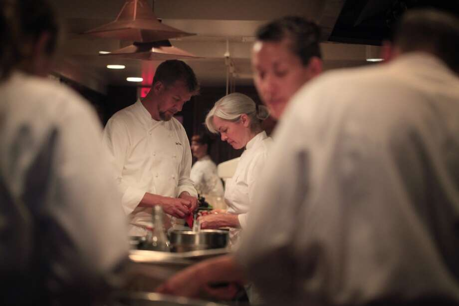 Chef Cal Peternell and co-chef Amy Dencler  prep for opening night at the restaurant.