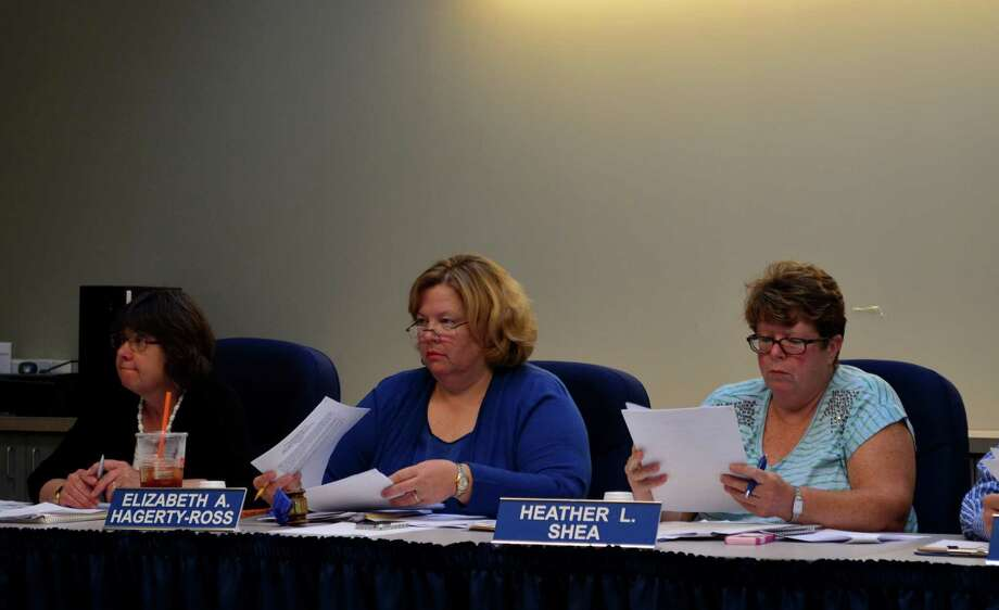 Clara Sartori, at left, and Betsy Hagerty-Ross, addressed the special education complaint during a separate agenda item at the Tuesday, June 25 Board of Education meeting. Hagerty-Ross ususally discusses the complaint during her chairman's report. Photo: Megan Spicer