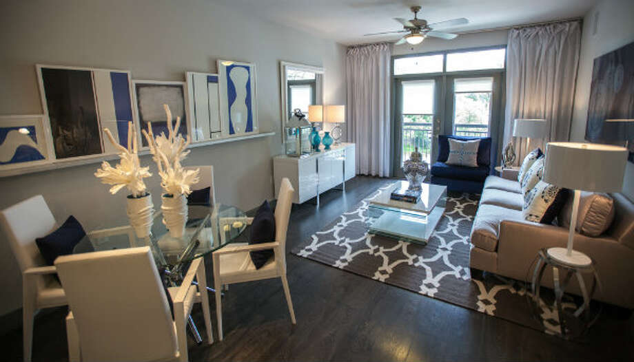 A living room in a model unit in Pearl Greenway.