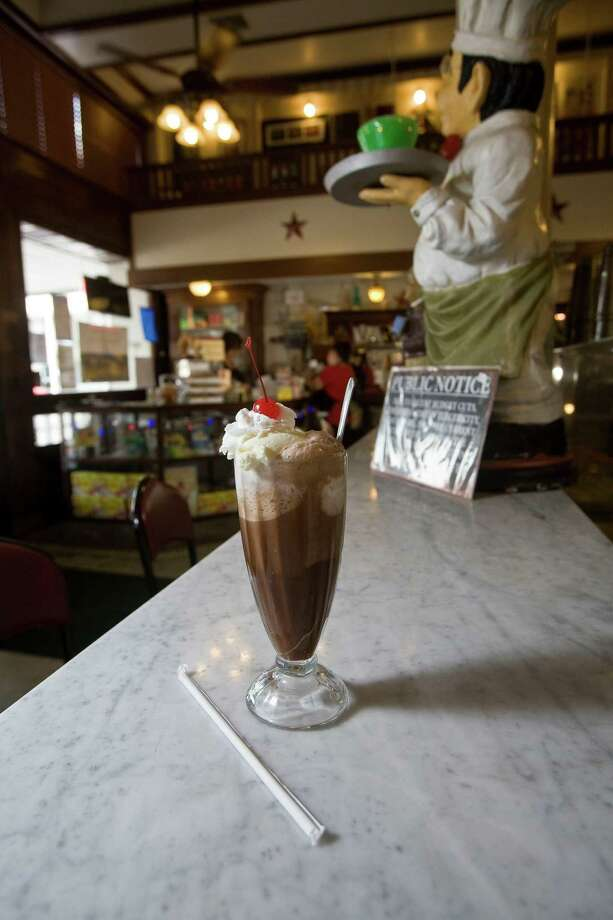 An old fashonioned chocolate ice cream soda at Star Drug Store Thursday, July 29, 2010, in Galveston    James Nielsen  Chronicle Photo: James Nielsen, Staff / Houston Chronicle