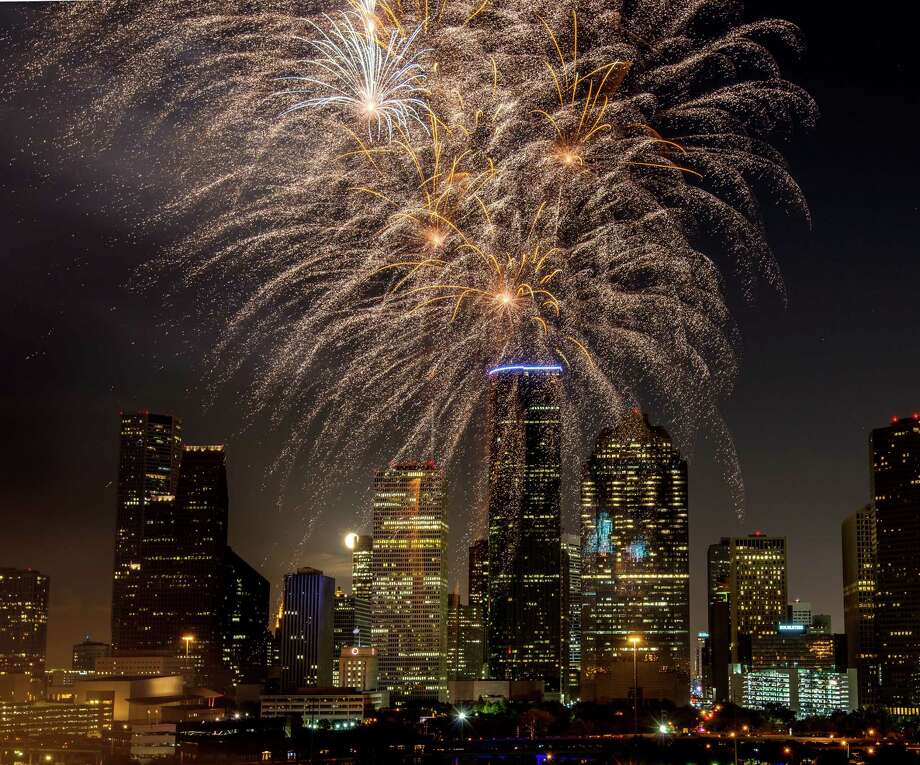 Fireworks explode over the downtown skyline during the Freedom Over Texas annual Fourth of July celebration on Wednesday, July 4, 2012, in Houston. ( Smiley N. Pool / Houston Chronicle) Photo: Smiley N. Pool, Staff / © 2012  Houston Chronicle