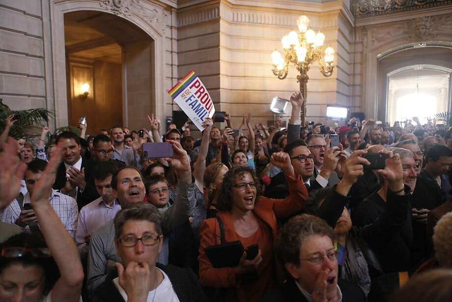 Crowds celebrate news about the DOMA ruling in City Hall, Wednesday June 26, 2013 in San Francisco, Calif. Photo: Katie Meek, The Chronicle