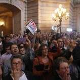 Crowds celebrate news about the DOMA ruling in City Hall, Wednesday June 26, 2013 in San Francisco, Calif.