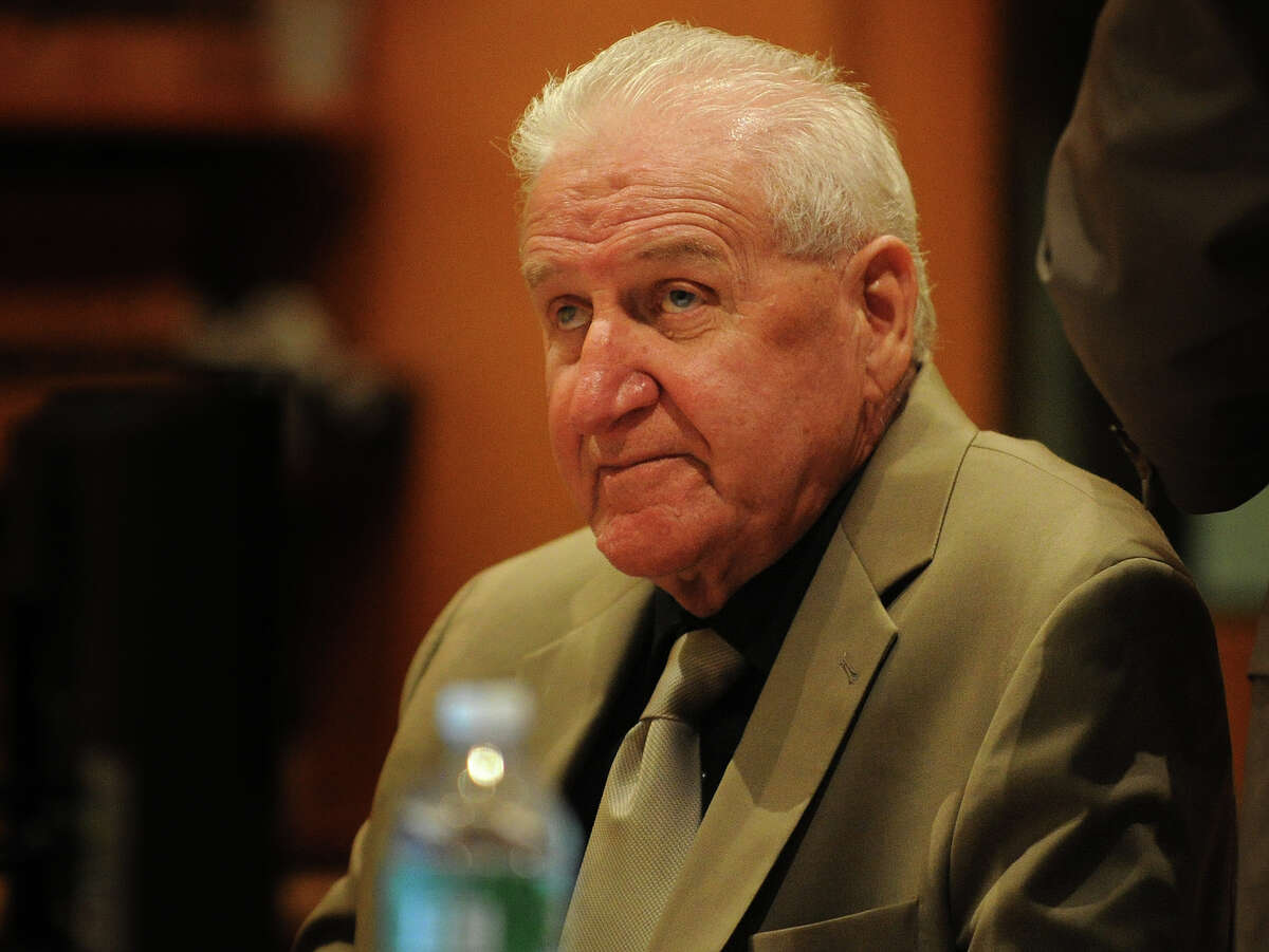 Dominic Badaracco, 77, of Sherman, listens to testimony during his trial in Superior Court in Bridgeport, Conn. on Wednesday, June 26, 2013. Badaracco is accused of offering a $100,000 bribe to Judge Robert Brunetti in 2010, to influence a grand jury investigation into the disappearance and presumed murder of Badaracco's second wife, Mary, in 1984.