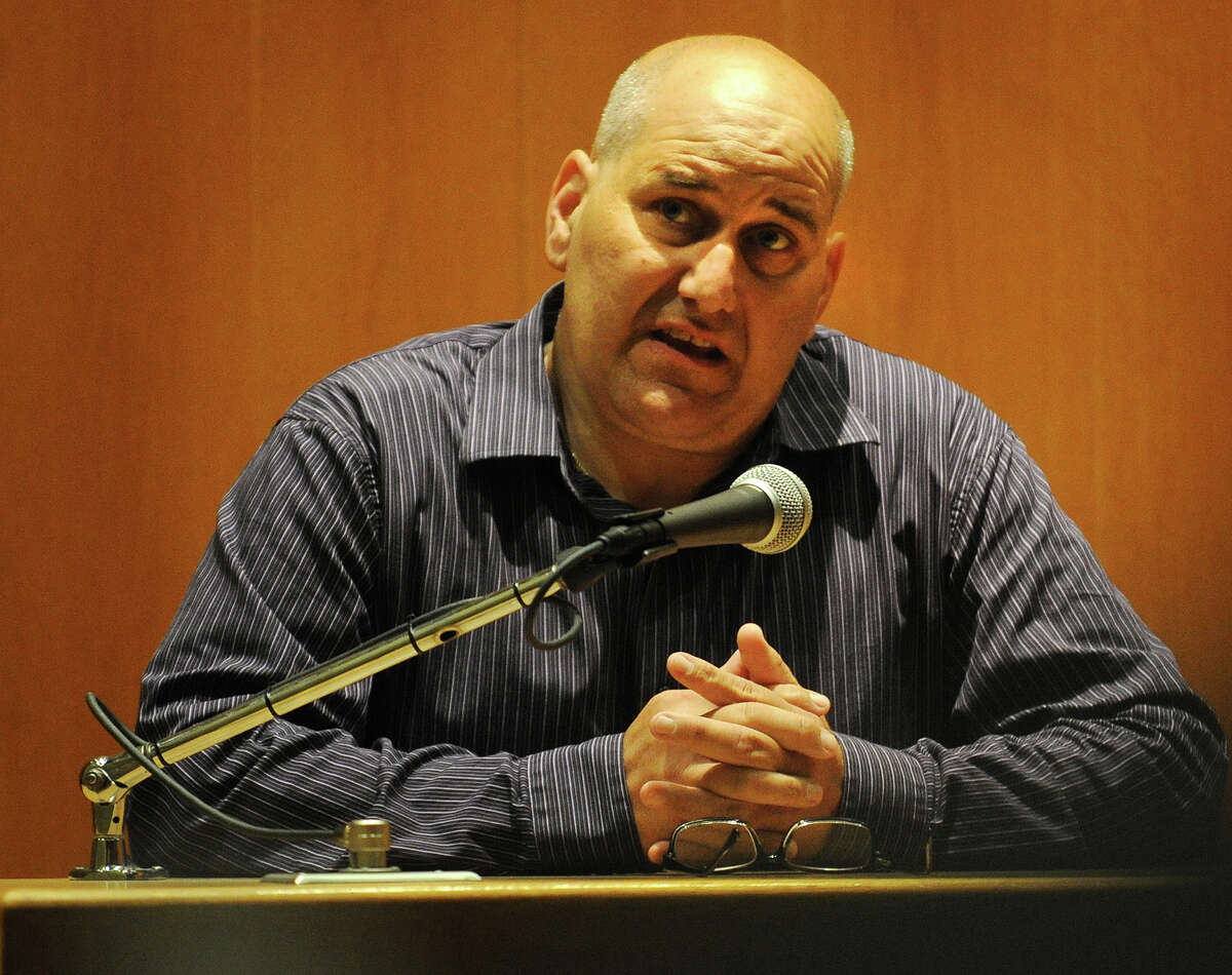 Bail bondsman Frank Giannone testifies during the trial of Dominic Badaracco, of Sherman, in Superior Court in Bridgeport, Conn. on Wednesday, June 26, 2013. Badaracco is accused of offering a $100,000 bribe to Judge Robert Brunetti in 2010, to influence a grand jury investigation into the disappearance and presumed murder of Badaracco's second wife, Mary, in 1984.