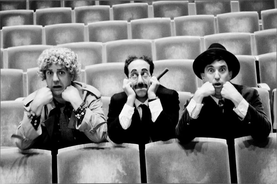 Caption (L to R): Brad Aldous (Harpo), Joey Slotnick (Groucho), Jonathan Brody (Chico). Photo credit goes to Paul Fox. Photo: Paul Fox / Paul Fox