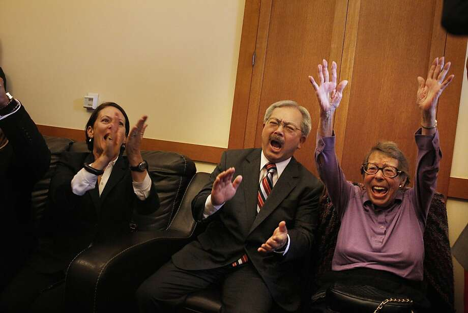 Joyce Newstat (l to r), Mayor Ed Lee and Phyllis Lyon react as they listen to coverage of the Supreme Court rulings in the Mayor's Office at City Hall on Wednesday, June 26, 2013 in San Francisco,  Calif. Photo: Lea Suzuki, The Chronicle