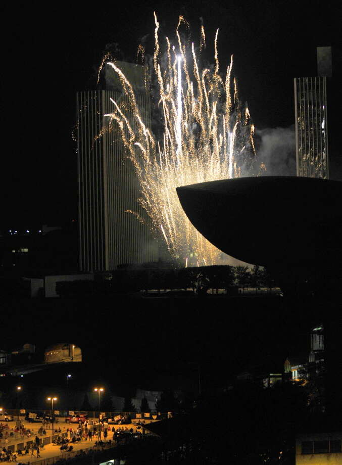 The bang the booms and the sight of fireworks fill the twilight sky during the Price Chopper 4th of July celebration at the Empire State Plaza in Albany N.Y.Wednesday July 4, 2012. (Michael P. Farrell/Times Union)