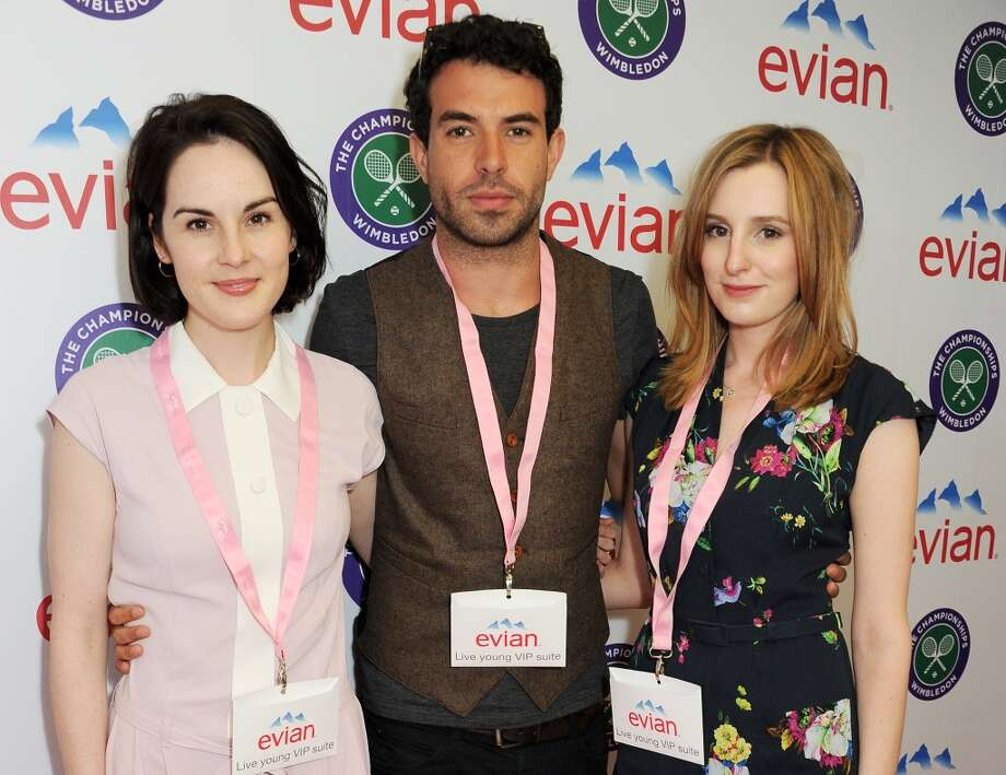 Michelle Dockery, Tom Cullen and Laura Carmichael attend the evian 'Live Young' Suite at Wimbledon on June 24, 2013 in London, England.