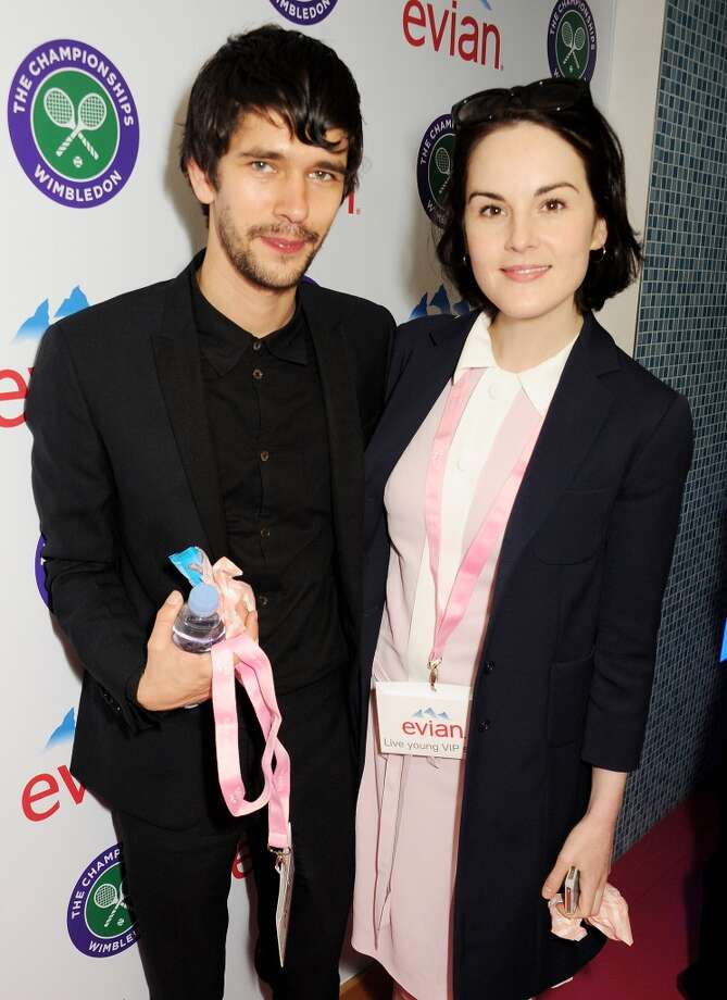 Ben Whishaw (L) and Michelle Dockery attend the evian 'Live Young' Suite at Wimbledon on June 24, 2013 in London, England.  (Photo by Dave M. Benett/Getty Images for evian)