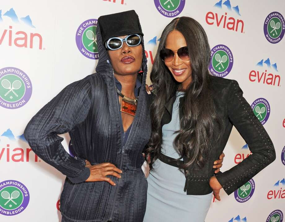 Models Grace Jones (L) and Naomi Campbell attend the evian 'Live Young' Suite at Wimbledon on June 24, 2013 in London, England.  (Photo by Dave M. Benett/Getty Images for evian)