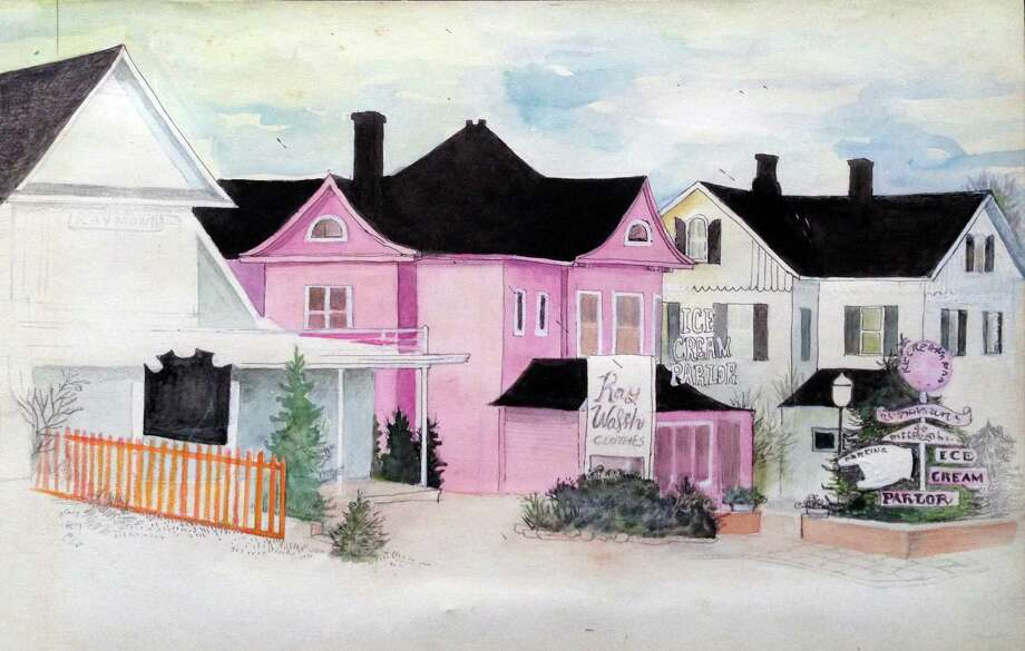 A painting of Westport storefronts by Gabrielle A. Dearborn, which will be featured in a 50-year retrospective of her work at the Westport Library through Sept. 25. Photo: Contributed Photo / Westport News