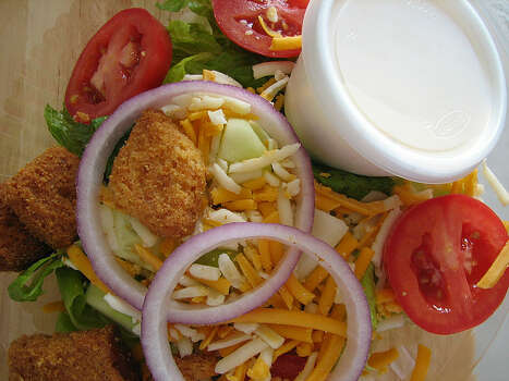 Meal: Garden salad with Ranch dressing, plus a banana and peach.