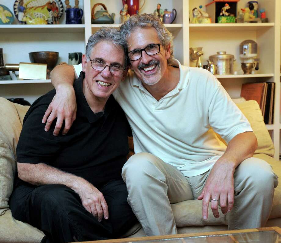 Ken Cornet, 71, left, and Joe Mustich, 59, have been together since 1979. They entered into a Civil Union in 2005 and were legally married in 2008. They are photographed in their Washington, Conn. home Wednesday, June 26, 2013. Photo: Carol Kaliff / The News-Times