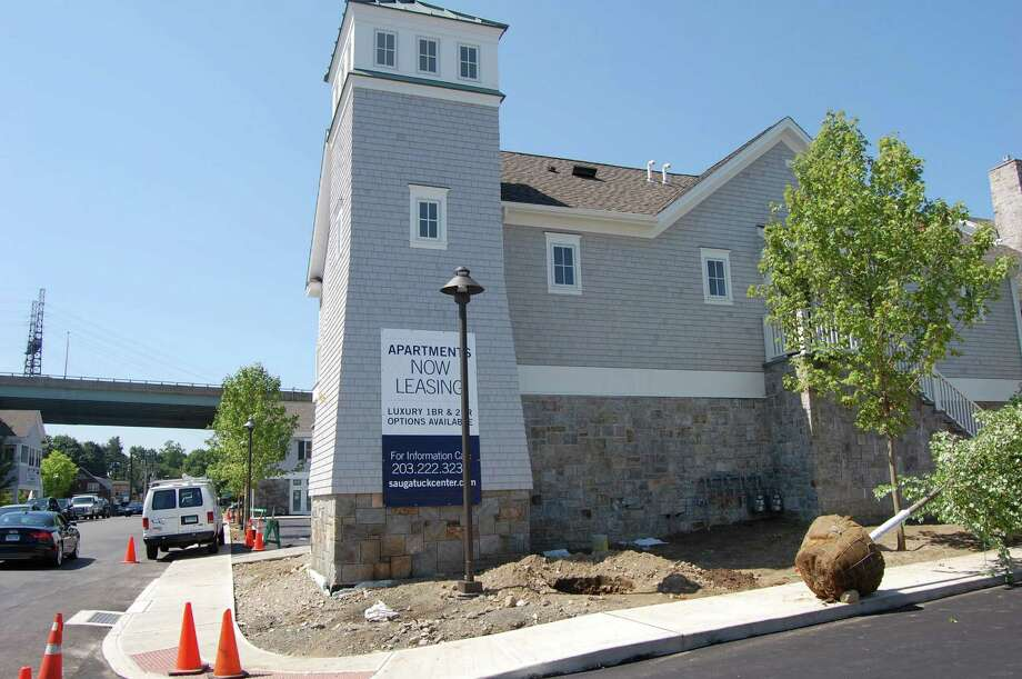Saugatuck Center -- the mixed-used community that includes apartments, restaurants and retail space -- is nearly complete. Photo: Cameron Martin / Westport News