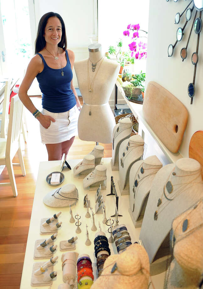 Ronit Tarshis, who operates Lera Jewels out of her home, poses with examples of her work in Westport, Conn. on Wednesday June 26, 2013. Photo: Christian Abraham / Connecticut Post