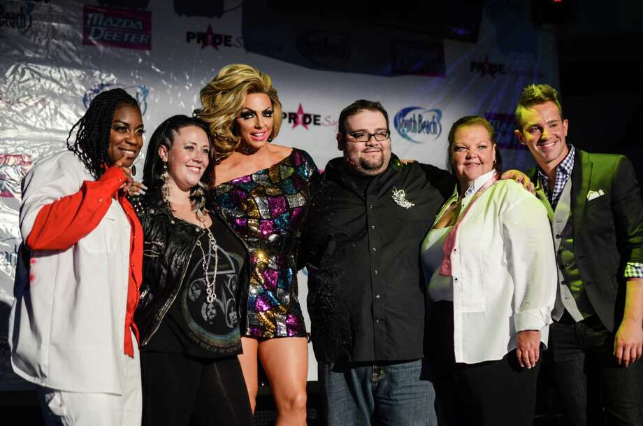 "Pride Superstar finalists Morena Roas (left) and Wendy Taylor, ""RuPaul's Drag Race"" star Alyssa Edwards, Pride Superstar finalists Leo Laredo and Juliana Wathen, host Blake Hayes. Photo by Sara Kelly. Photo: Sara Kelly Photo"