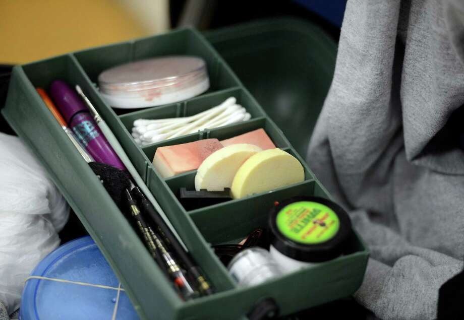 A makeup kit used by Molly McIver for the clowning class at The College of St. Rose College in Albany.  (Skip Dickstein / Times Union) Photo: SKIP DICKSTEIN / 00021812A