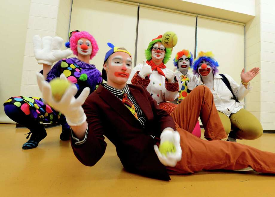 College of St. Rose class clowns are Kevin Bohen,  foreground; Brianna O'Connor, left, Molly McIver, Tiffany Lloyd and Jessica Lopez. (Skip Dickstein / Times Union) Photo: SKIP DICKSTEIN / 00021812A