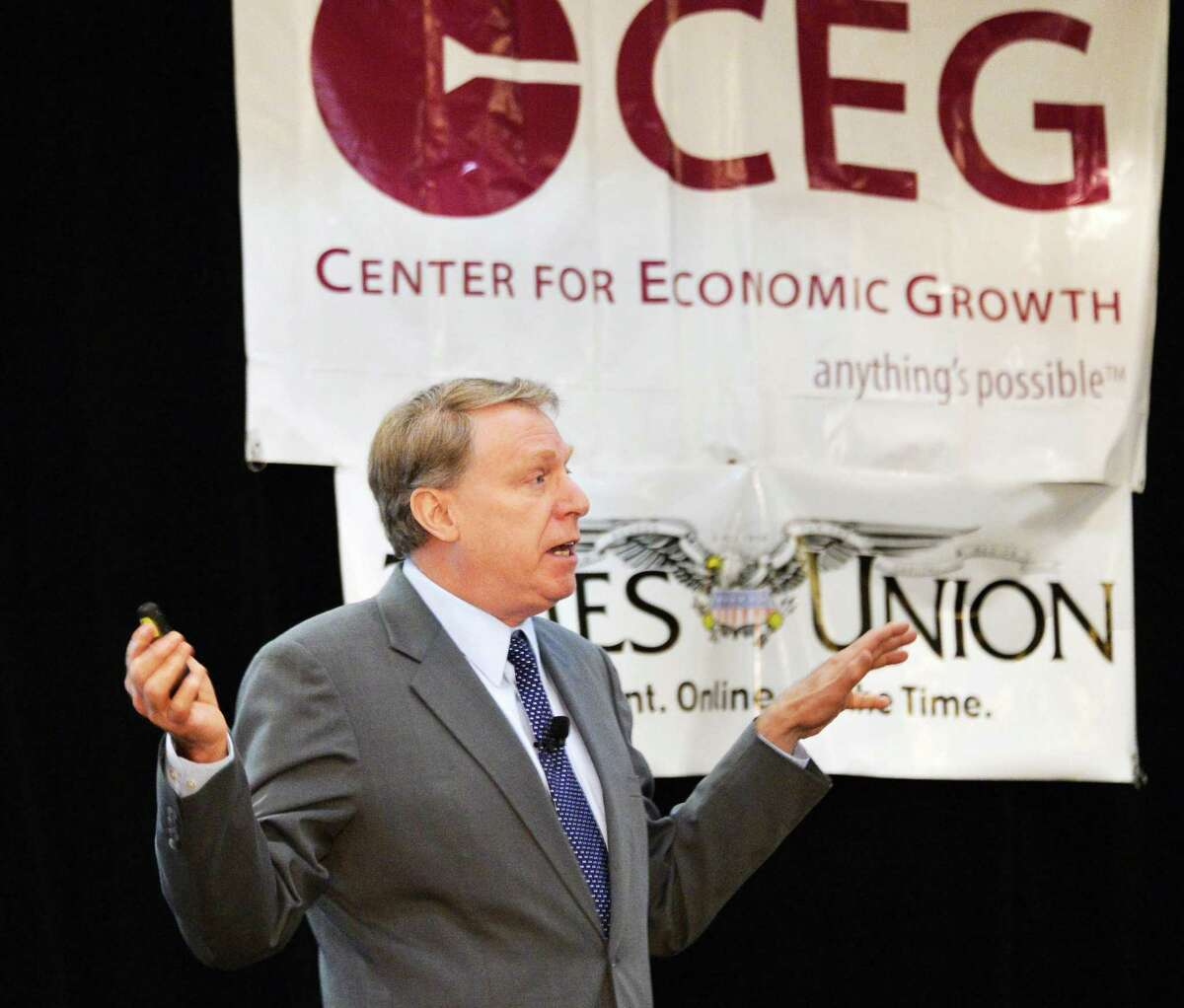Keynote speaker Dr. Norman Jacknis,director of Cisco's IBSG Public Sector Group, addresses CEG's 17th annual Technology Awards in Colonie Wednesday June 26, 2013. (John Carl D'Annibale / Times Union)