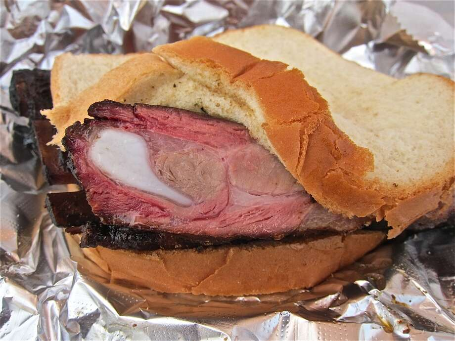 Old-fashioned rib sandwich at Brooks' Place BBQ in Cypress. Photo: Alison Cook